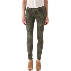 Paige Verdugo Ultra Skinny Jeans green paisley